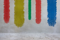 Concrete wall background with paint brush Stock Images