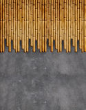 Concrete wall with bamboo Royalty Free Stock Photography