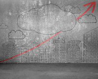 Concrete wall with city building Skyscrapers, cloud, red arrow d Royalty Free Stock Photography