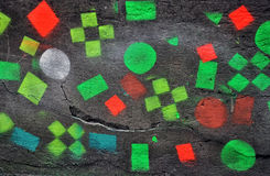 Concrete wall with colorful squares Royalty Free Stock Image