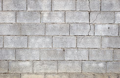 Concrete wall crack. Concrete blocks wall crack with rough surface, abstract background Royalty Free Stock Photography
