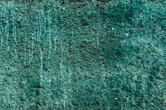 Concrete wall dirty blue-green cement wall. texture and background stock photography