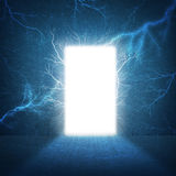 In concrete wall doorway with bright light. Business concept Stock Photos