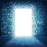 In concrete wall doorway with bright light and. Sketches. Business concept Stock Image