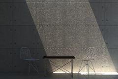 Concrete wall with Eames furniture. 3D CGI with a couple of metal Eames chairs in front of a concrete wall with a nice sunlight beam comming from the roof royalty free illustration