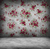 Concrete wall and floor texture with red rose wallpaper , Grunge Stock Photography