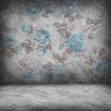 Concrete wall and floor texture with rose blue wallpaper , Grung Stock Photo