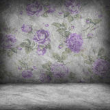 Concrete wall and floor texture with rose purple wallpaper , Gru Stock Photography