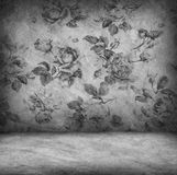 Concrete wall and floor texture with rose wallpaper , Grunge des Royalty Free Stock Image