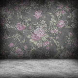 Concrete wall and floor texture with rose wallpaper , Grunge des Stock Images