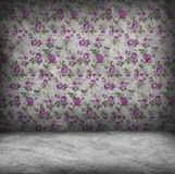 Concrete wall and floor texture with rose wallpaper. Grunge design Royalty Free Stock Photo