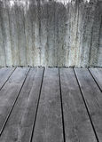 Concrete wall and grey wooden floor Royalty Free Stock Images