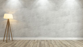 Concrete wall with light 3d rendering Royalty Free Stock Photo