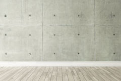 Concrete wall loft style decor, background, template design. Concrete wall and wooden parquet decor like loft style, background, template design Royalty Free Stock Photo