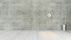 Concrete wall loft style decor with floor light, background, tem Royalty Free Stock Photos
