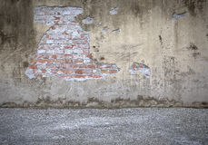 Concrete Wall. Old concrete wall with Bricks stock illustration