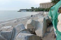 Concrete wall protect erosion along the Pattaya beach, Chonburi, Royalty Free Stock Photography