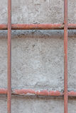 Concrete wall with rebar stock photo