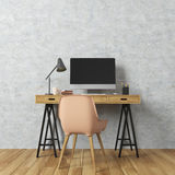 Concrete wall room, computer desk, beige. Empty room interior with concrete walls and a light wooden floor. There is a wooden computer desk and a beige chair Royalty Free Stock Photos