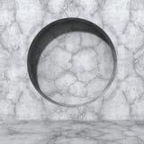 Concrete wall. Round design hole element. Urban architecture bac Stock Photos