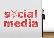 Concrete wall  with social media Stock Photography