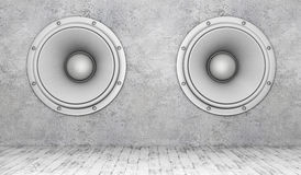 Concrete wall with speakers and wooden floor. 3D rendering vector illustration