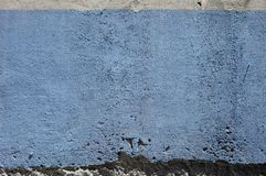 Concrete wall surface painted blue. Aged concrete wall painted blue suitable for background stock image