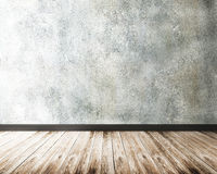 Concrete wall and wood floor Stock Photo