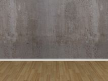 Concrete wall and wood floor in a empty room Stock Images