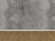 Concrete wall and wood floor in a empty room Stock Image