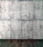 Concrete wall and  wood floor. Pattern gallery to the exhibition as perfect background for your concept or project. Realistic 3d Stock Photo