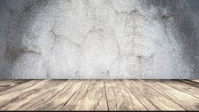 Concrete Wall and Wooden Floor. Copy Space Background. 3d rendering vector illustration