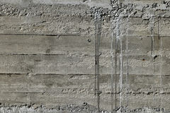 Concrete wall with wooden pattern impress from wooden form board Royalty Free Stock Image