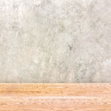 Concrete wall and wooden table,empty interior for add your produ Stock Images