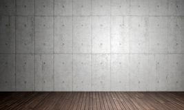 3d concrete interior. Concrete walla and wood parquet floor 3d rendering image Royalty Free Stock Photo