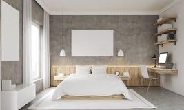 Concrete walls bedroom interior Royalty Free Stock Image
