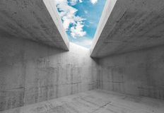 Concrete walls and blue sky in ceiling opening. Empty room interior with concrete walls and blue sky in ceiling opening. Abstract modern minimal architecture stock illustration