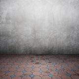 Concrete walls and brick floor for text and background Stock Photography