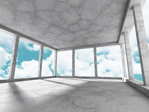 Concrete walls empty room interior. Abstract architecture with s. Ky background. 3d render illustration Royalty Free Illustration