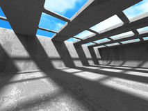 Concrete walls empty room interior. Abstract architecture with s. Ky background. 3d render illustration Stock Photography