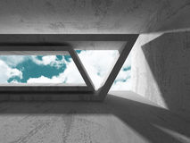 Concrete walls empty room interior. Abstract architecture with s Royalty Free Stock Photography