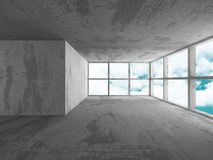 Concrete walls empty room interior. Abstract architecture. With sky background. 3d render illustration Vector Illustration