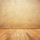 Concrete walls and wood floor for text and background for your house Stock Photos