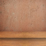Concrete walls and wood table for text and background Royalty Free Stock Images