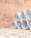 Concrete water pipes stacked Stock Images