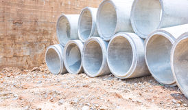 Concrete water pipes stacked Stock Photos