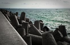 Concrete waterbreak. At Baltic Sea in Poland, Europe Stock Photography