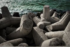 Concrete waterbreak. At Baltic Sea in Poland, Europe Stock Photo