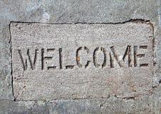 Concrete welcome mat Stock Photos