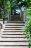 Concrete and wood staircase stock photos